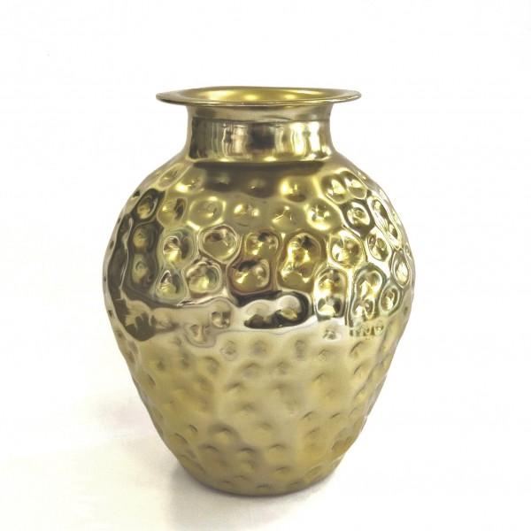 Vase Deko Blumen Gold Metall Gehämmert Colmore 31 cm