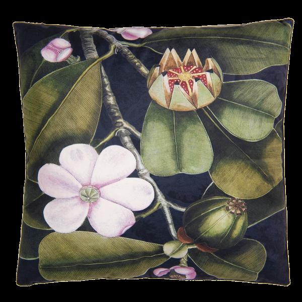 Kissen Deko Zier Botanik Blumen Blätter Samt Clayre & Eef Grün Schwarz
