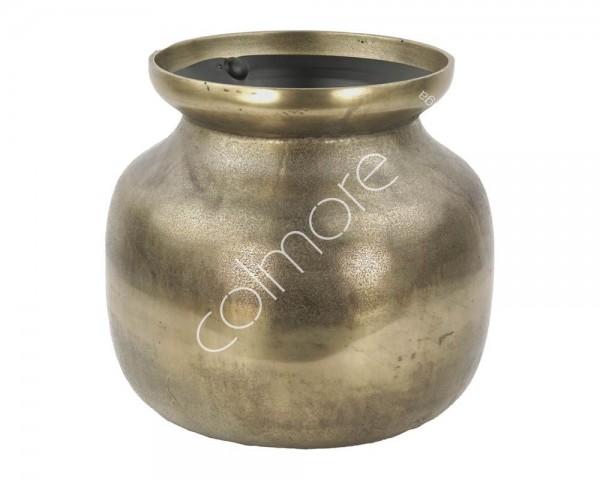 Bodenvase Vase Gold Antik Metall Rund Colmore Modern Zinn 38x38x33 cm