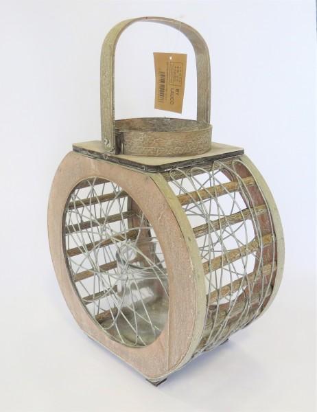 Laterne Windlicht Holz Glas Metall Natur Natürlich Rund 43 cm