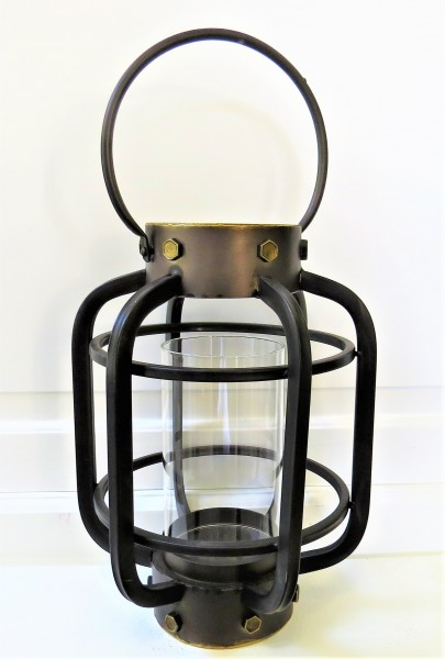 Countryfield Windlicht Teelichthalter Kerzenständer Laterne Metall Glas schwarz 33 cm Josse