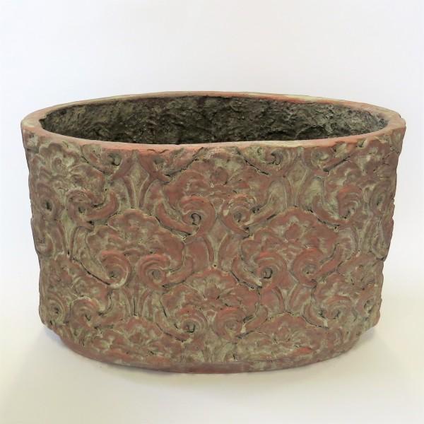 Pflanzenkübel Pflanzentrog Kübel Trog Übertopf Blumentopf Vase altrosa antik H 26 cm B 39 cm
