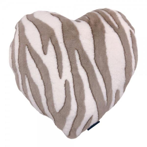 Kissen Herz Zebra Samt Beige Deko Mars & More 45 x 45 cm Luxus Weich
