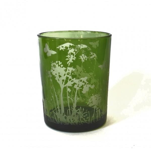 Windlicht Teelichthalter Blumen Schmetterling Motiv Glas Grün 12,5 cm Cor Mulder Modern