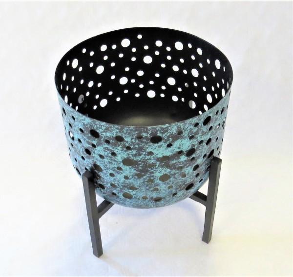 Kerzenständer Teelichthalter Windlicht Schale auf Fuß Metall 25,5 x 23 cm