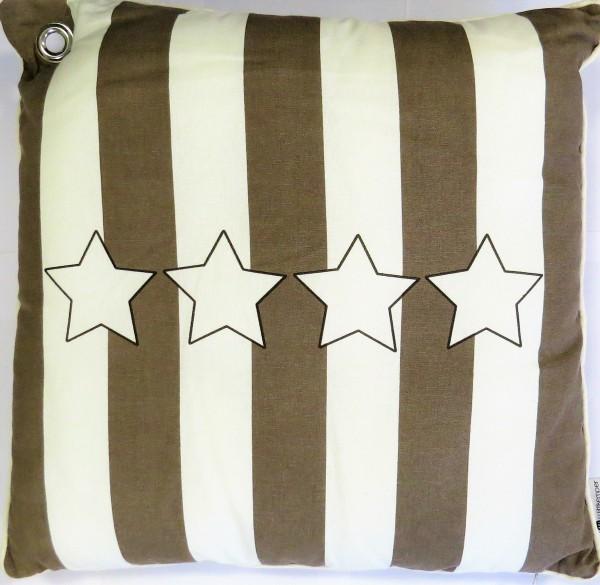 Kissen Dekokissen weiß taupe Sterne 45*45 cm Reißverschluss Handmade 100 % Baumwolle