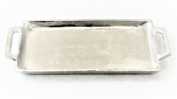 Tablett Dekotablett Kerzentablett Untersetzer Exner Metall 29 x 12 x 3 cm silber