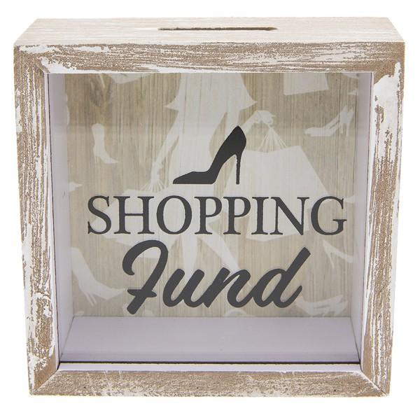 Spardose Frauen Shopping Schuhe Lustig Shabby Holz Clayre & Eef 15x5x15 cm