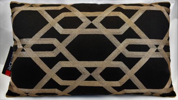 Kissen Dekokissen schwarz gold 30 x 50 cm Colmore Reißverschluss 310-18-011