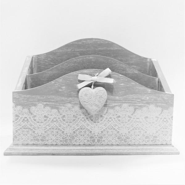 Clayre & Eef Serviettenhalter Serviettenständer Briefhalter Holz Shabby grau weiß 24 x 9 x 16 cm