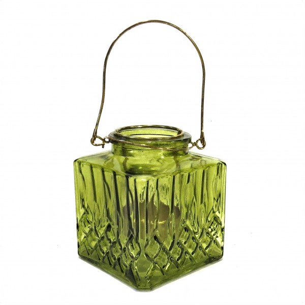 Teelicht Hängewindlicht Deko Grün Glas Metall Quadrat 11 cm