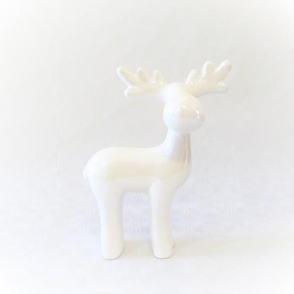 Rentier Dekofigur Weihnachten Tischdeko weiß Porzellan 22 cm