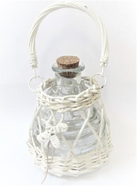 Vespenfalle Vespenfänger Insektenfänger Sommerfield Glas Rattan weiß 12,5 x 11 cm