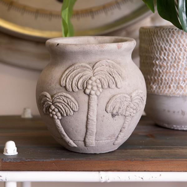Blumentopf Übertopf Beton Stein Ornament Garten Deko Antik Shabby Stil Clayre & Eef