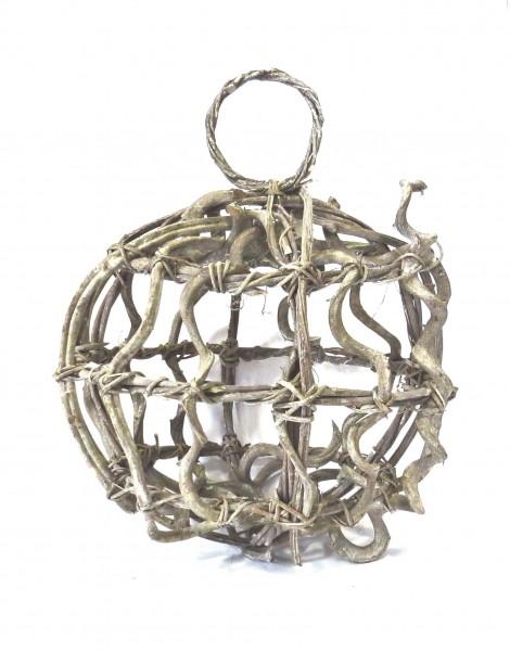 Holzgeflecht Deko Kugel Ball Hänger XL Grau Natur 40cm