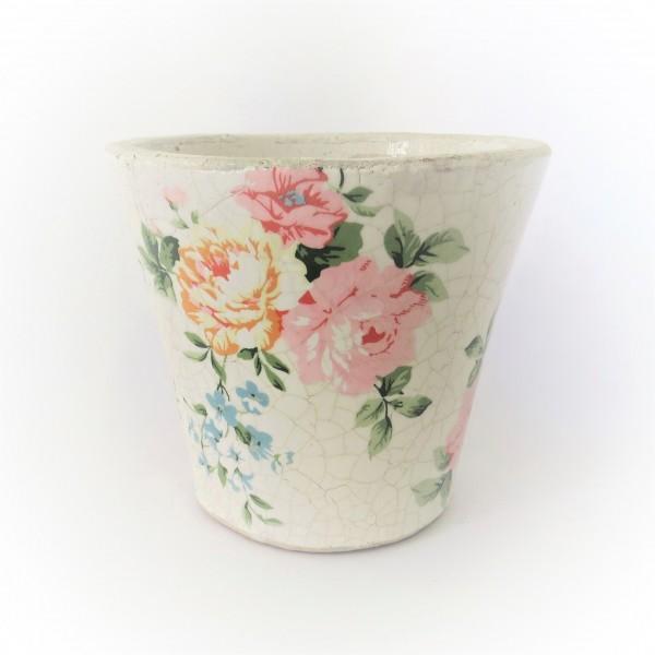 Übertopf Blumen Pflanzen Rosenmuster Antik Stil Shabby 14 cm