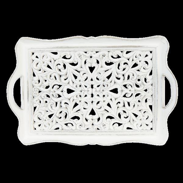Tablett Servierbrett mit Griffen Weiß Shabby Antik Clayre & Eef 40 cm