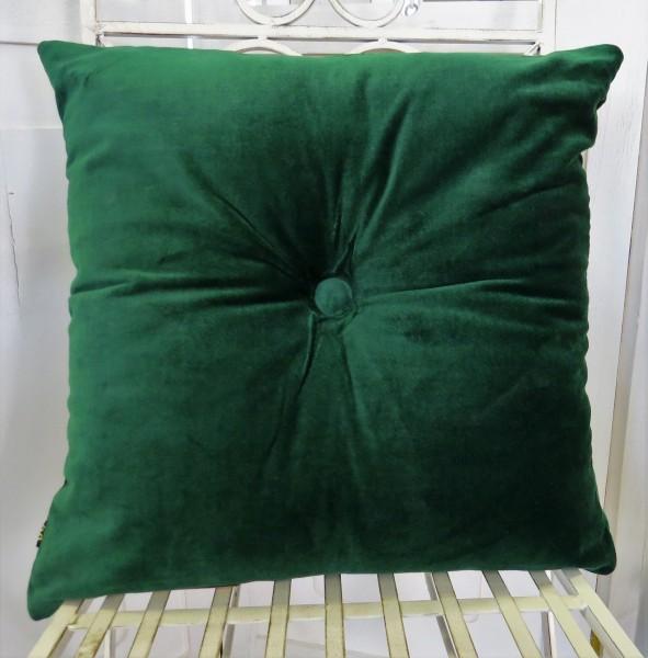 Kissen Dekokissen Kuschelkissen Samt grün 45*45 cm Reißverschluss Baumwolle