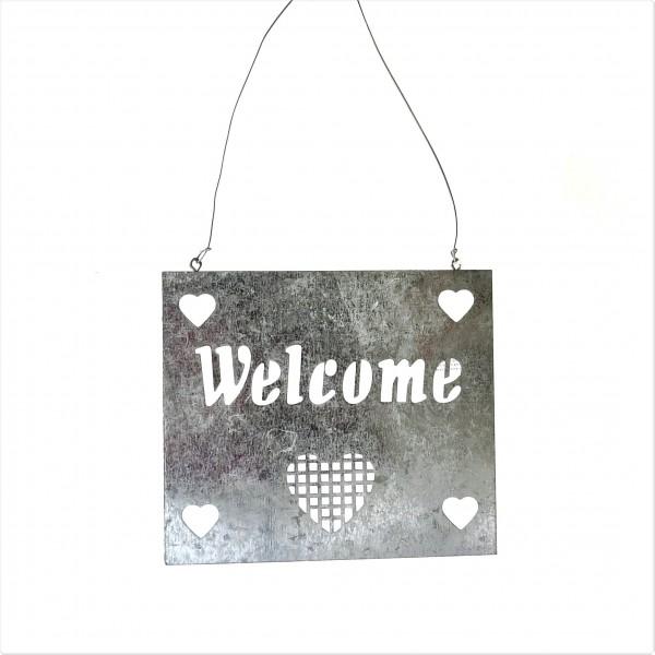 Eingangsschild Türschild Welcome Blechschild Willkommen Silber Herzen Pusteblume