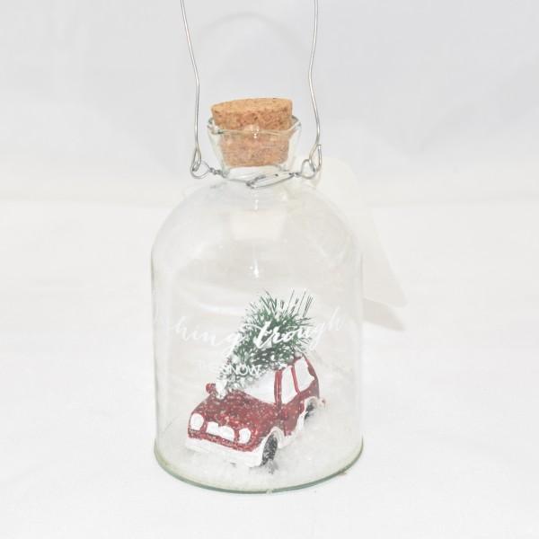 Dekoglas zum hängen Weihnachtsbaumschmuck Tischdeko 10 cm