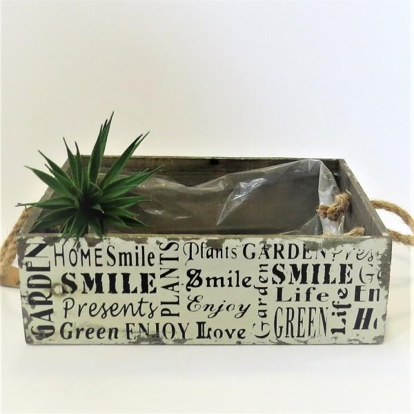 Holzkiste Holzbox Kiste Dekokiste Blumenkiste Tablett shabby 10*34*29 cm