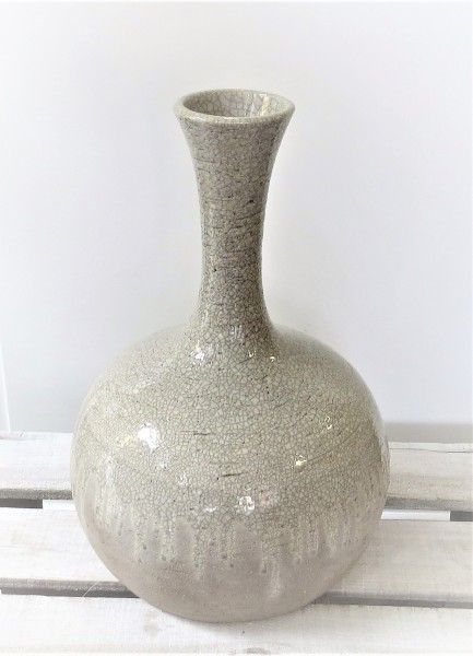 Vase Bodenvase bauchig grau Ton Antik 42 x 28 cm