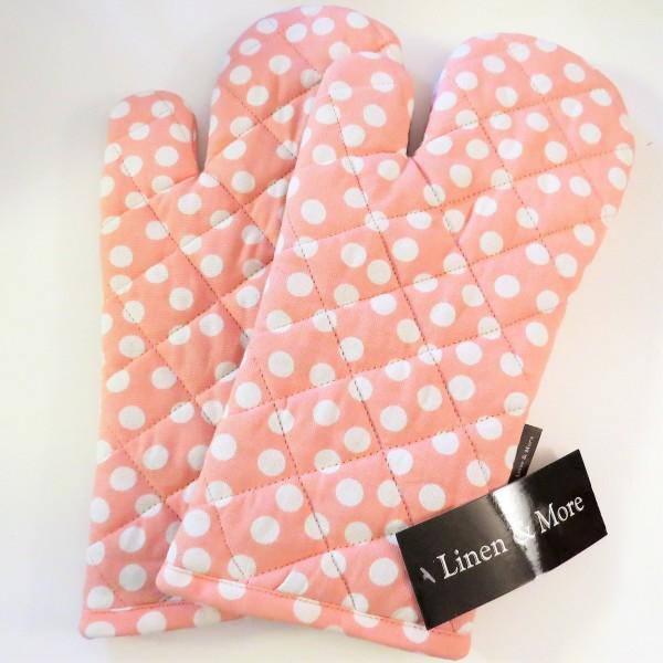 2x Ofenhandschuh von Linen & More in rosa mit Punkte