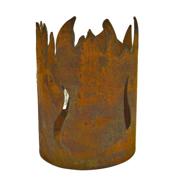 Windlicht Feuerkorb Flammen Garten Deko Rost Metall 20x14 cm
